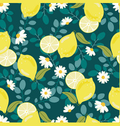 cute flat style yellow lemon with white flower vector image