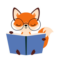 Cute little fox in glasses reading book vector