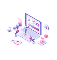 data analysis statistics collection landing page vector image