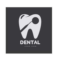 Dental care logo template with mirror silhouette vector