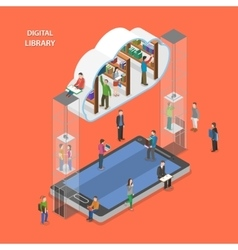 Digital library flat isometric concept vector image
