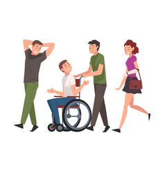 Disabled man in wheelchair walking with friends vector