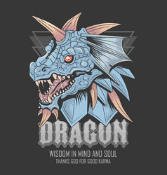 dragon head blue and horn tshirt element vector image