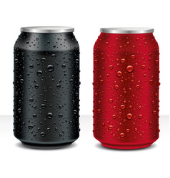 Drink tin can red and black with many water drops vector