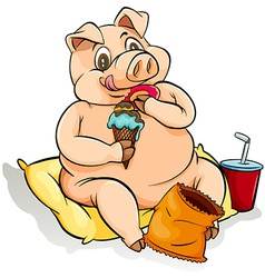 Eating like a pig idiom vector