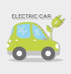Ecological electric car with power cable vector