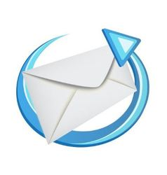 envelope with a blue arrow vector image