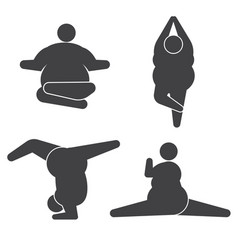 Fat overweight woman obese women exercises and vector
