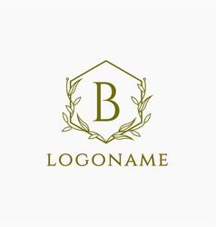 Frame logo elegance nature letter b logo icon vector