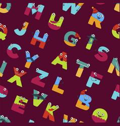 funny alphabet of cartoon characters for kids vector image