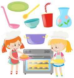 Girls baking and kitchen utensils set vector