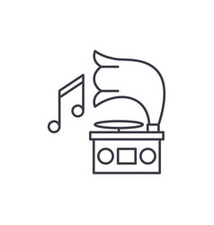 gramophone line icon concept gramophone vector image
