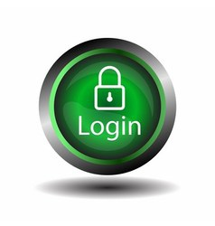 Green round Glossy Login icon vector image