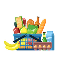 Grocery basket with food assortment flat vector