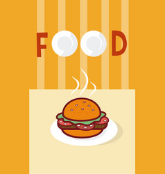 Hamburger fast food cartoon menu cover vector