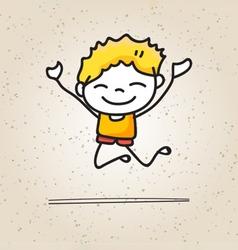 hand drawing cartoons concept happy boys vector image