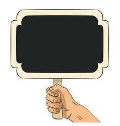 hand drawn hand holding wooden chalkboard vector image