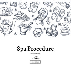 hand drawn spa elements background vector image