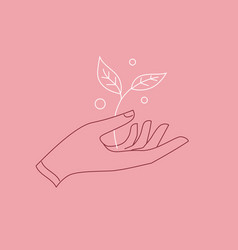 hand with branch line logo sign emblem badge vector image