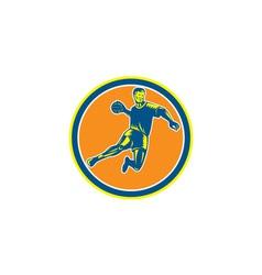 Handball Player Jumping Throwing Ball Circle vector