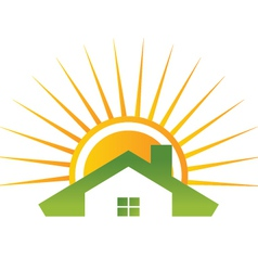 house and shiny sun vector image
