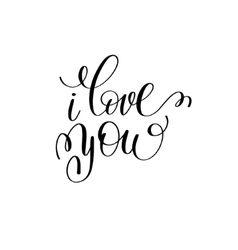 i love you black and white hand written lettering vector image