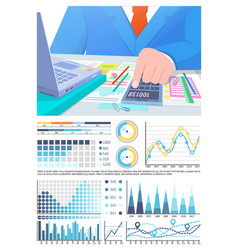 Infographics calculations of business man in vector