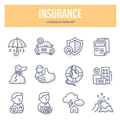 Insurance Doodle Icons vector image