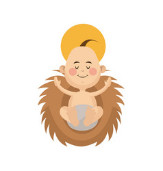 Jesus baby manger character christmas image vector