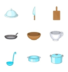 Kitchen utensils icons set cartoon style vector