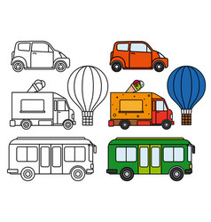 Line and colorful transport set vector