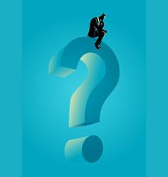 man sitting on big question mark symbol vector image