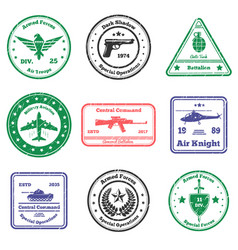 Military insignia stamps set vector