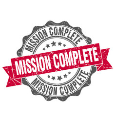 Mission complete stamp sign seal vector