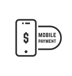 mobile payment like linear black phone vector image