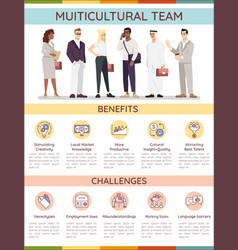 Multicultural team infographic template vector