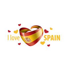 national flag spain in shape a heart vector image