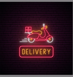 Neon delivery scooter sign glowing food delivery vector