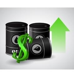 Oil barrel with green arrow vector