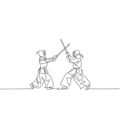 one continuous line drawing two young sporty vector image
