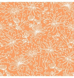 Orange and white lineart flowers seamless pattern vector image