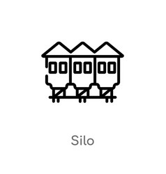 outline silo icon isolated black simple line vector image