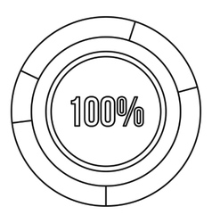 Pie chart circle graph 100 percent icon vector