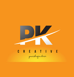 pk p k letter modern logo design with yellow vector image