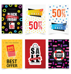 poster of sale in color set graphic vector image