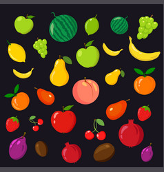 rainbow of fruits on the black background vector image