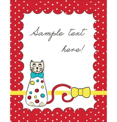Red card with cat vector image