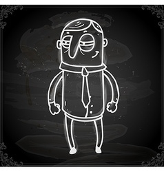 Scheming Man Drawing on Chalk Board vector image