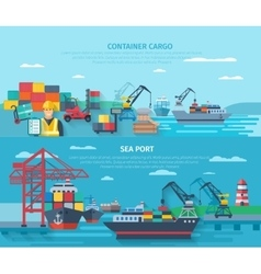 Sea Port Horizontal Banner Set vector