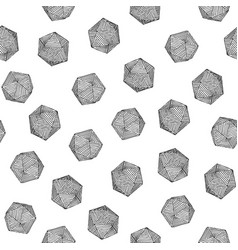 Seamless hand-drawn d20 sketch pattern vector